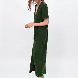 ZARA Green Cotton/Linen The Tokyo Buttoned Dress-S